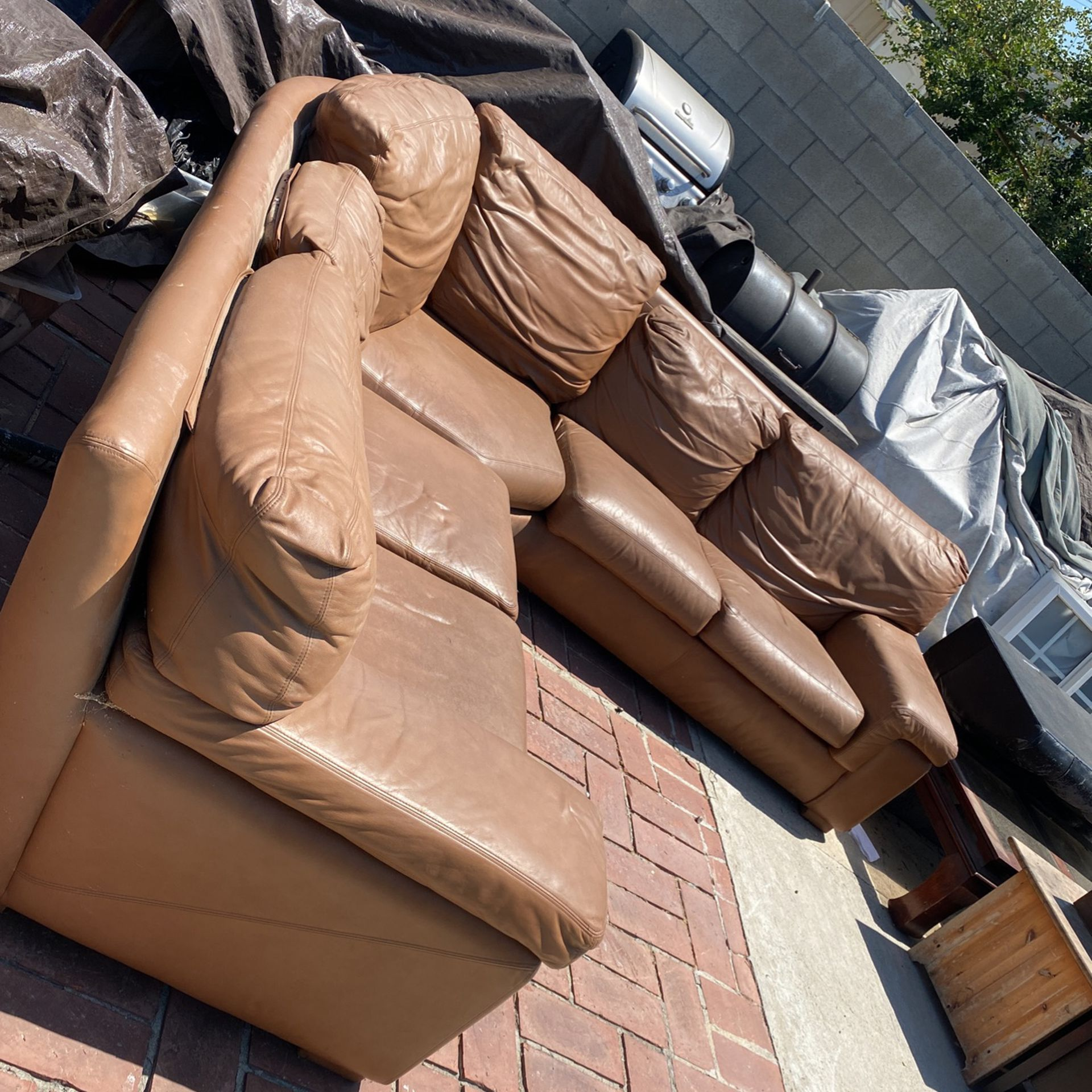 Genuine leather sectional.