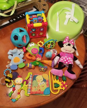Baby toys and booster/high chair seat for table for Sale in Buckingham, VA