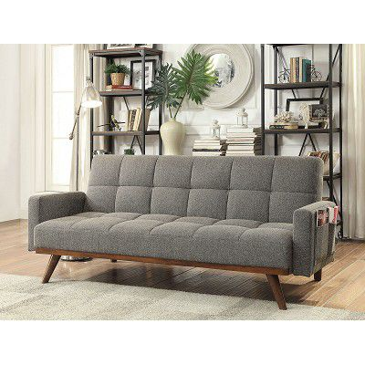 New In Box Gray Mid Century Modern Futon Sofa Bed Couch For Sale In