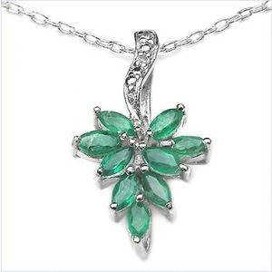 Sterling Silver Diamond & Emerald Necklace for Sale in Arlington, VA