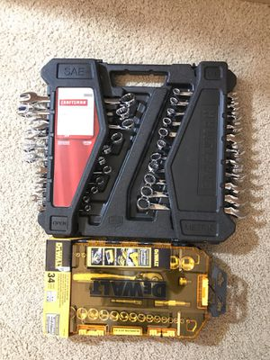 Craftsman 52 pc wrench set and Dewalt 34 pc drive socket set for Sale in Houston, TX