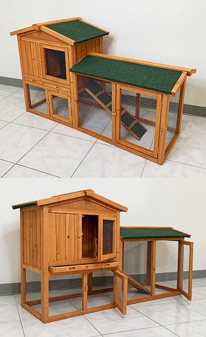 "Photo (NEW) $110 Wood Rabbit Hutch Pet Cage w/ Run Asphalt Roof Bunny Small Animal House 55""x20""x34"""