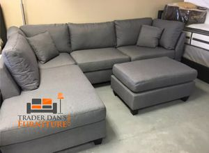 Brand New Grey Linen Sectional Sofa Couch + Ottoman for Sale in Arlington, VA