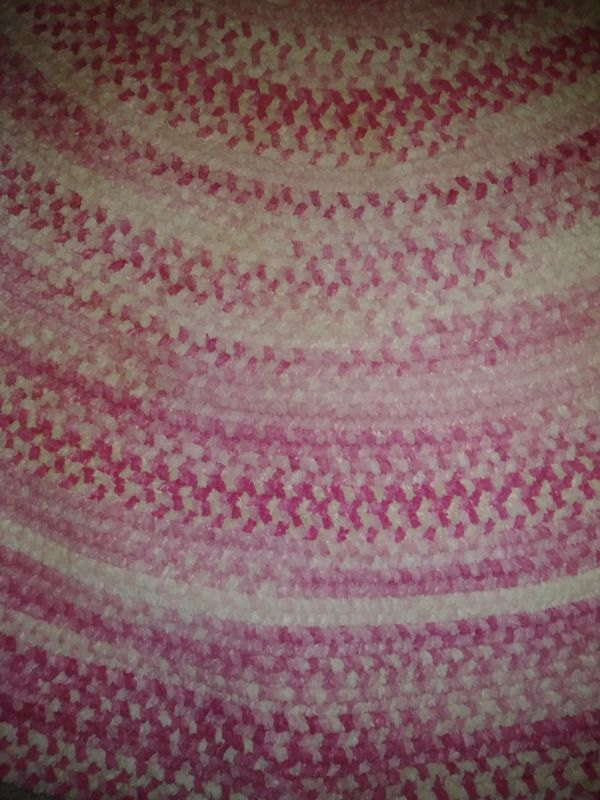 Pottery Barn Pink Chenille Braided Oval Rug 5x8 For Sale