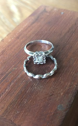 Engagement ring and wedding band 14k white gold: flower and leaf design for Sale in Portland, OR
