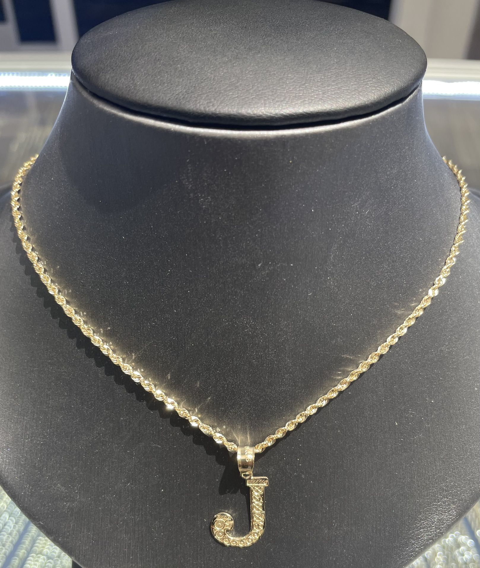 10kt Gold Chain With Gold Intial Any Letter