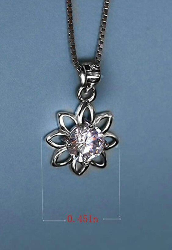"""18k Gold Plated 925 Sterling Silver CZ Flower Pendant Necklace 18"""""""