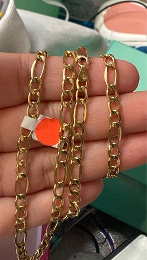 Photo 14k gold figaro chain REAL GOLD men great for a gift