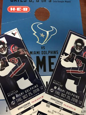 Texans vs Dolphins Thursday Night Football for Sale in Houston, TX