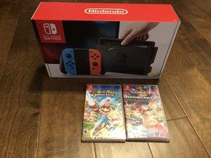 Nintendo Switch w/ MARIO Kart 8 & Rabbids Kingdom Battle Deluxe for Sale in Rockville, MD