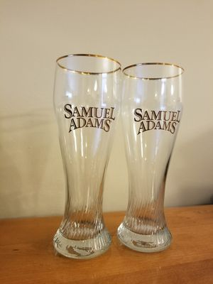 Two Gold Leaf Sam Adam's Weizen Glasses for Sale in Fairfax, VA