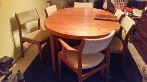 Danish Modern Vejl Stole Denmark table & Scandinavia Woodworks Chairs (7 total) for Sale in Montgomery Village, MD