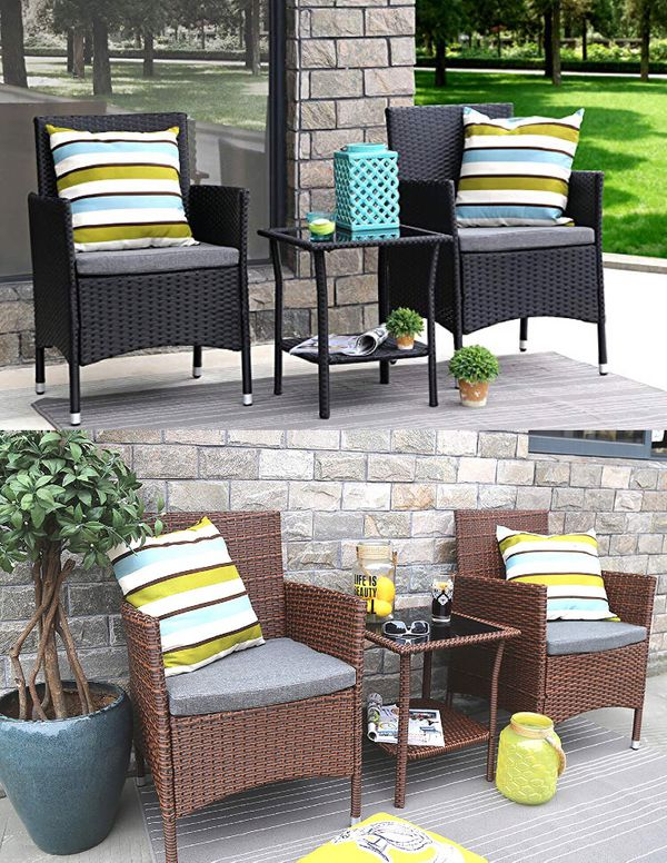 24b6c31762fe Baner Garden 3 Pieces Outdoor Furniture Complete Patio Cushion PE Wicker  Rattan Garden Dining Set, Full, 2 colors Black and Brown (Q16)
