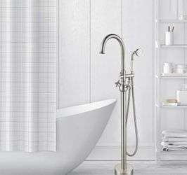 Vanity Art 48 in. H x 12 in. W Single Handle Claw Foot Tub Faucet with Hand Shower in Brushed Nickel Thumbnail