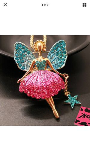 Photo Betsey Johnson 3 D Rhinestone Fairy Princess ..so cute 4 ' high on Alloy 18 inch gold chain & brooch gift box