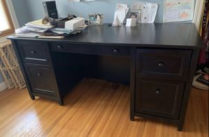 Photo Beautiful dark brown executive desk - student - music studio in great shape. Super heavy. Great quality - not cheap wood