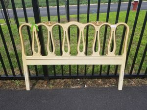 French provencial bed full size head board and metal frame for Sale in Chantilly, VA