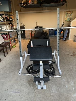 Photo Weight Set - Full Bench, Squat, Leg, and Curl Rack