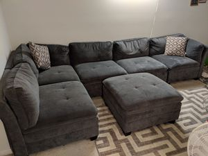 6-piece Fabric sectional with ottoman for Sale in Herndon, VA