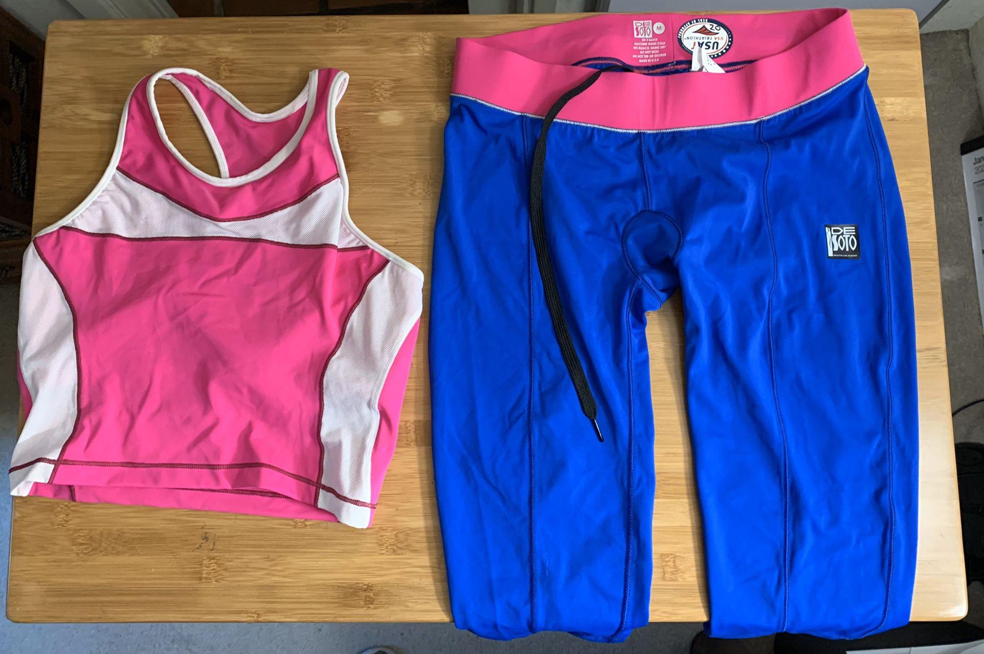 De Soto Sport Women's Triathlon Top and Bottom Medium Never Worn