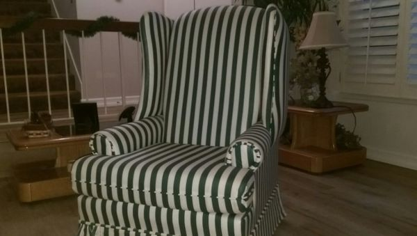 Beautiful Green And White Striped Chair