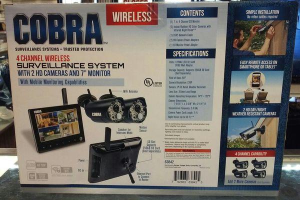 Cobra Wireless 4 Channel Surveillance System Model 63842 for Sale in  Margate, FL - OfferUp