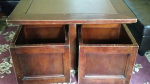 Wood and leather coffee table with storage bins for Sale in Gainesville, VA