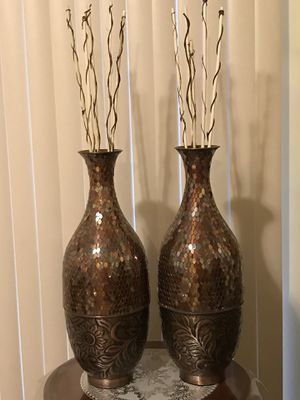 """Set of 2 brown mosaic mirror vases 25"""" each check out my other items on this page message me if you interested gaithersburg md 20877 for Sale in Gaithersburg, MD"""