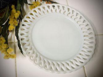 Vintage Milk Glass Dessert Plate Thumbnail