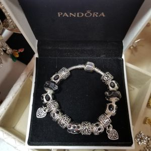 Beautiful 925 Stamped Sterling Silver Black Murano Glass Heart Charm Bracelet for Sale in Seffner, FL
