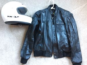 Leather jacket + helmet for Sale in Annandale, VA