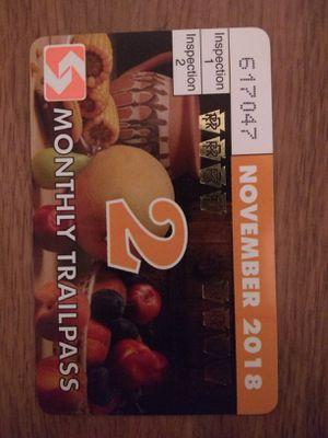 November 2018 septa monthly trail pass. Zone 2 for Sale in Philadelphia, PA