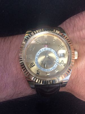 Rolex Sky Dweller 18k solid gold Champagne face 18k gold fluted bezel mint condition for Sale in Orlando, FL