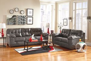 Brand New Leather Grey Ashely Sofa and Love Seat Set (Financing and Delivery Available) for Sale in Carrollton, TX