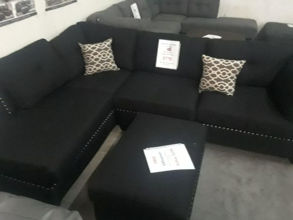 New Black Microfiber Sofa Nail Studded Sectional Free Accent Pillows 649