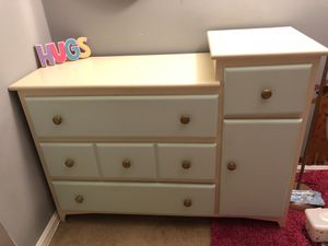 Modern White & blue Wooden Dresser/Changing table & Bookcase for Sale in Fort Washington, MD