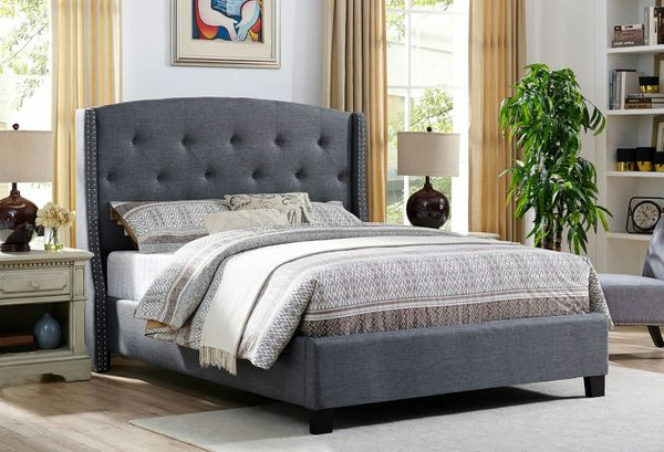 Brand new gray queen bed frame only (Furniture) in San Diego, CA