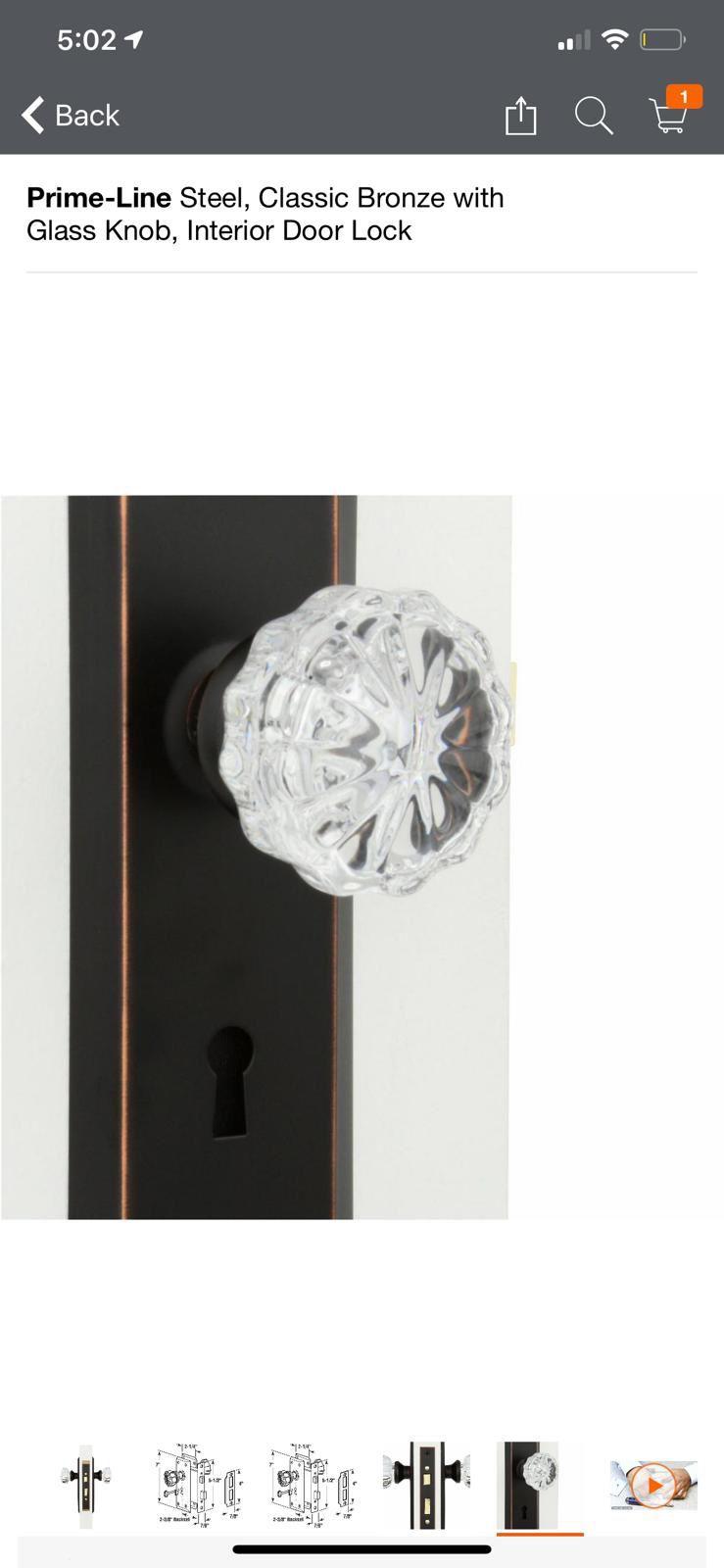 Prime-Line Steel, Classic Bronze with Glass Knob, Interior Door Lock
