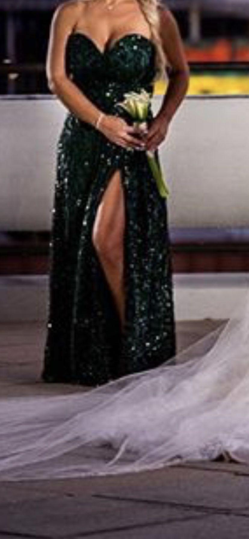 Wedding,Prom emerald green custom dress