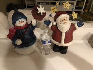 Christmas decoration Santa and snowman for Sale in Fairfax Station, VA