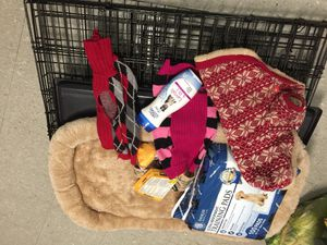 Medium dog crate with supplies - Including various winter supplies for Sale in Arlington, VA
