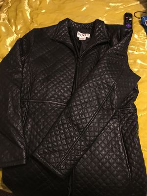 Black leather mid-length coat for Sale in Orlando, FL