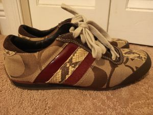 Photo RARE! Coach Mable Sneakers with Snakeskin, Red Patent Leather, and Suede Stripes