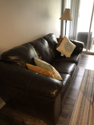 Ashley furniture signature design - leather queen sleeper sofa. for Sale in Westlake, OH