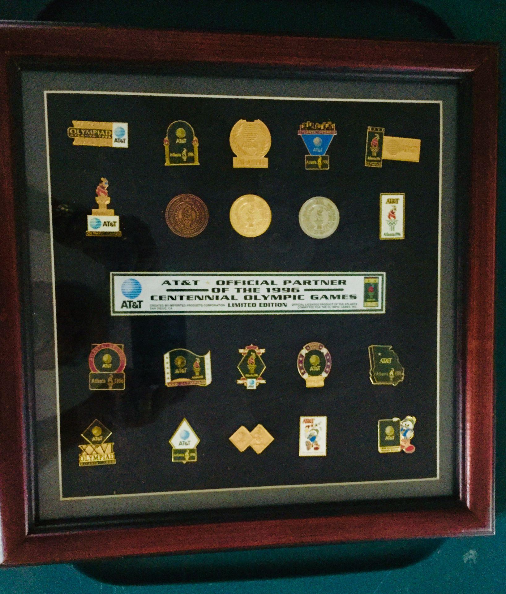 1996 AT&T Centennial Framed Olympic Pins
