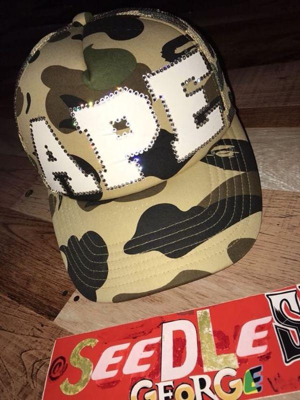 6105f3c4240 Bape 1st Full Yellow Camo custom Swarovski Crystal Trucker hat for ...