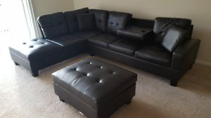 Brand New Black Faux Leather Sectional Sofa Couch +Storage Ottoman for Sale in Chevy Chase, MD
