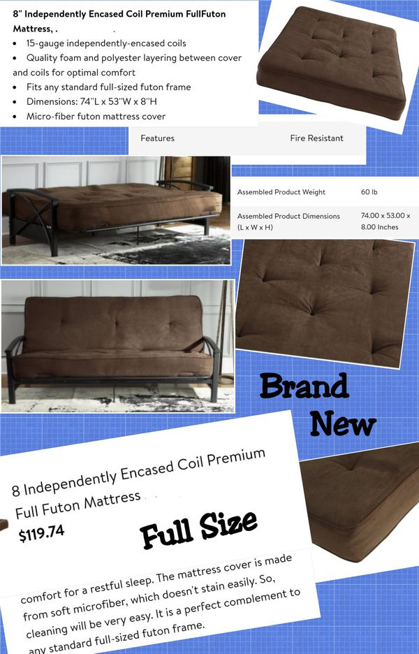 Full Size Pocketed Coil Futon Mattress Free Frame For Sale In