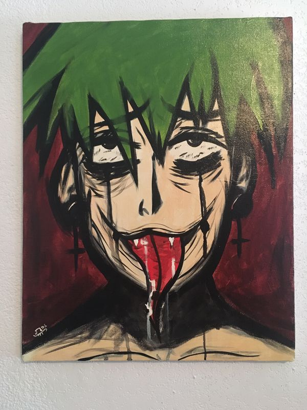 Creepy ahegao boy acrylic painting (Hand painted) for Sale in San Antonio,  TX - OfferUp
