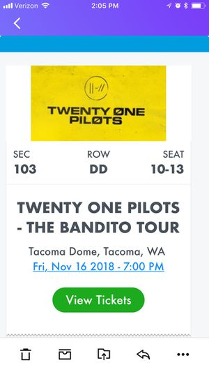 4 Tix Twenty One Pilots Tacoma Dome for Sale in Seattle, WA
